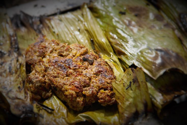 Minced Iranian style Lamb Kebabs wrapped in a banana leaf
