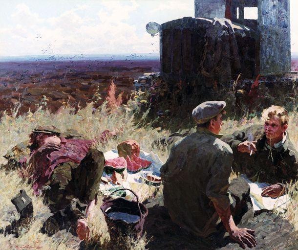 Midday at the fresh ground by Viktor Kabanov. 1960.