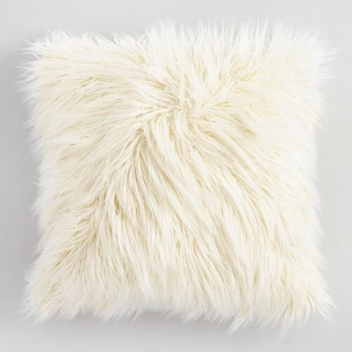 One of my favorite discoveries at WorldMarket.com: Ivory Mongolian Faux Fur Throw Pillow