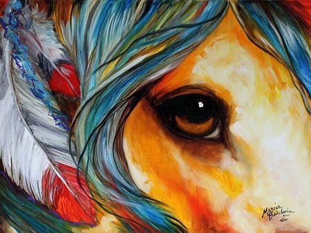 Spirit Eye - Horse - art, artwork, Baldwin, equine, horse, Marcia Baldwin, Native American, painting