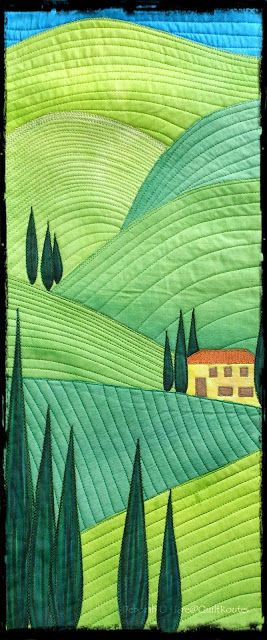 Deborah OHare shows off some exciting applique art on her website, Quilt Routes, including this landscape.