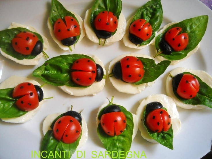 Ladybugs with mozzarella, tomato, olives and basil