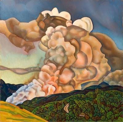 Rita Angus Scrub burning, Northern Hawke's Bay 1965 oil on board Auckland Art Gallery Toi o Tāmaki purchased 1966