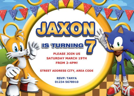 17 Best images about Fiestas infantiles – Sonic Birthday Invitations