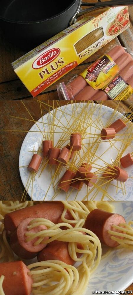 "The thought of pasta and hot dogs doesnt sound the tastiest....but I bet kids would think this was kinda cool. ""Howdya get the noodle through the hot dog, Mom?"""
