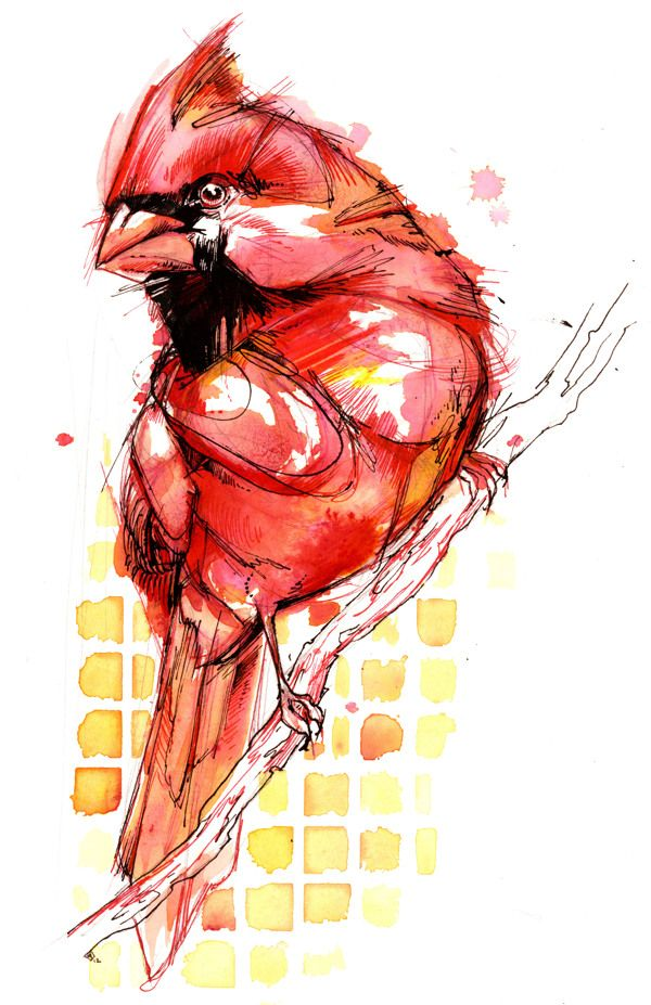 """I would call this """"Big Red"""" Watercolor painting. Don't know what artist, Abby Diamond, had in mind."""