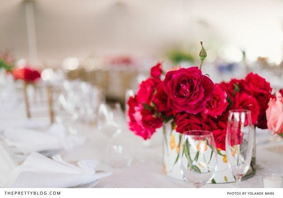 Garden roses as table decoration | Photographer: Yolandé Marx