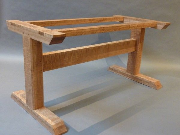 Curly Oak Trestle Table Hastening Design Studio Furniture Ideas