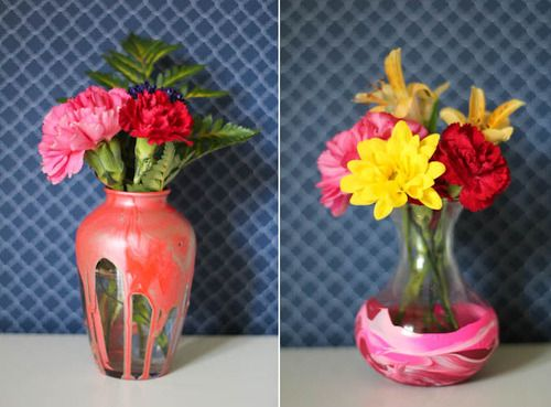 Dip dye an old vase into mixed paint for a colorful and easy upcycle.