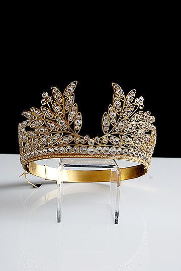 19th Century Gilt Brass Tiara with Facet Cut Glass Jewels