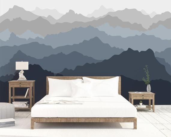 Ombre Mountain Landscape Wall Mural Removable Wall Paper Etsy Wall Murals Mountain Wallpaper Landscape Walls