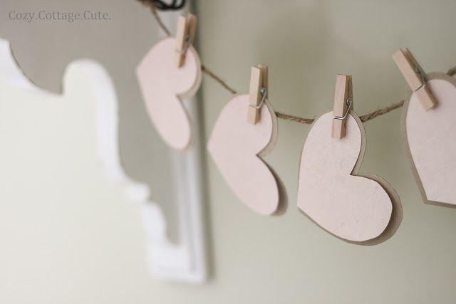 hearts garland - Cozy.Cottage.Cute.: A Little Valentine's Day Shelf
