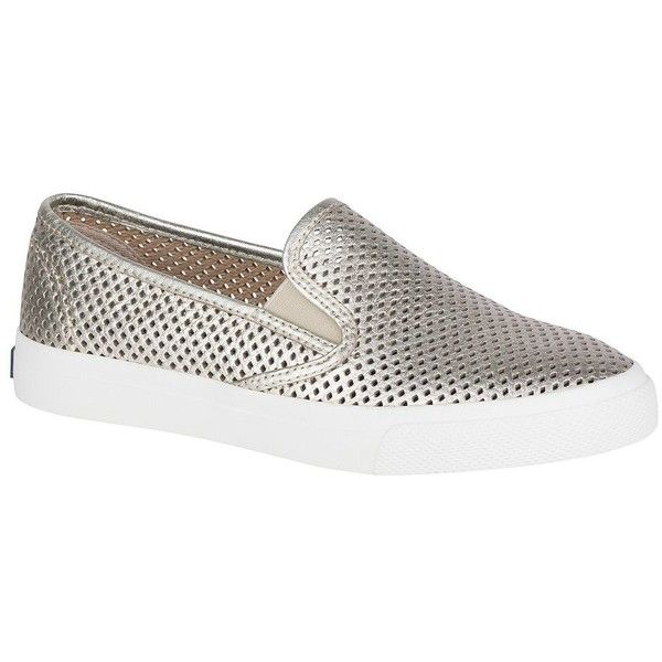 Sperry Women's Seaside Perforated Leather Sneakers ($75) ❤ liked on Polyvore featuring shoes, sneakers, pewter, leather trainers, sperry sneakers, leather sneakers, sperry shoes and leather shoes