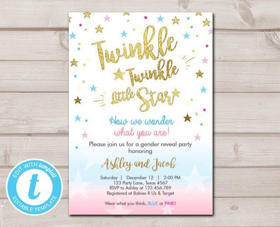 Editable Gender Reveal Invitation Baby Shower Twinkle Twinkle Etsy Gender Reveal Invitations Gender Reveal Baby Shower Invitations
