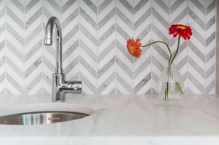 Marble Chevron Tiles, Transitional, dining room, Christopher Architects