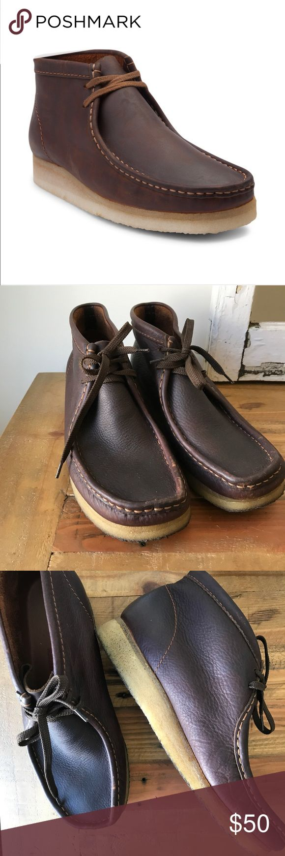 Men's Clarks Original Wallabees Classic Wallabee casual boots. These deep Mahogany leather Wallabees are perfect for Fall. So cushiony and soft! Worn maybe twice by my husband. Excellent Condition. Clarks Shoes Boots