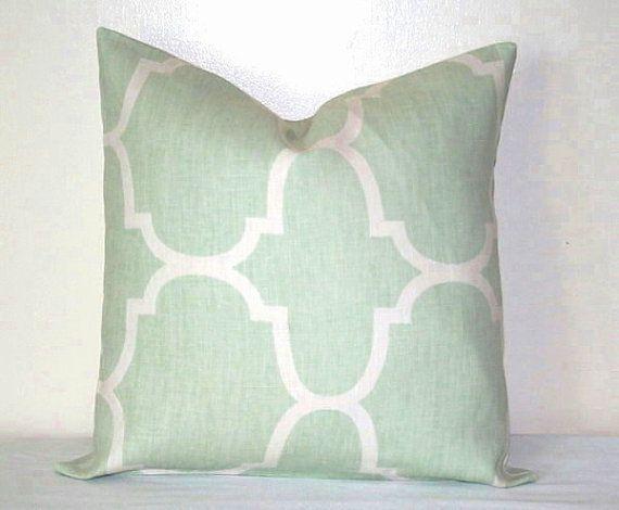 Seafoam Blue Decorative Pillows : Seafoam Green and White Moroccan 18 inch Decorative Pillows Accent Pillow throw Pillow Cushion ...
