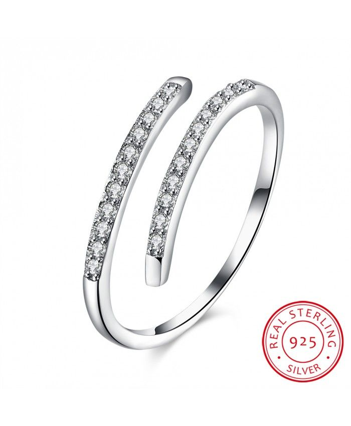 Ouruora 925 Sterling Silver Clear CZ Open Ring
