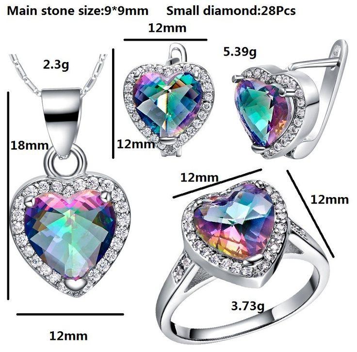 Красочные австрийский хрусталь стерлингового серебра 925 свадебные ювелирные изделия устанавливает серьги кольцо колье бижутерия Ulove T481купить в магазине ULOVE Fashion JewelryнаAliExpress