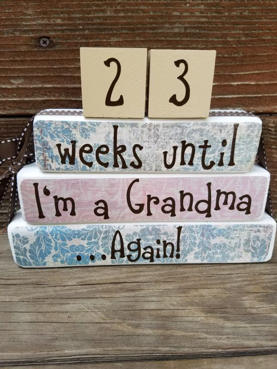 New Baby Announcement Pregnancy Countdown Blocks Grandparent Countdown Sign Papered by DaisyBlossomCreation