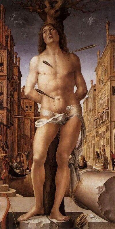 Liberale da Verona, San Sebastiano (1490-91), olio su tavola, cm 198x95, Milano, Pinacoteca di Brera.