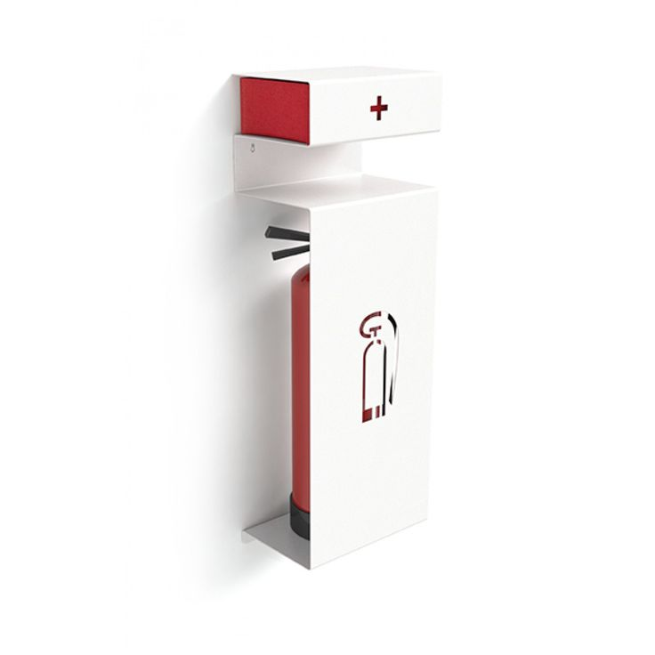 Integrated fire extinguisher and first aid kit holder by Kostantin Slawinski. These things are usually an ugly afterthought, but they're essential.
