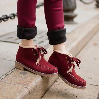 Nikiyo - Faux-guarnição da pele botas de amarrar