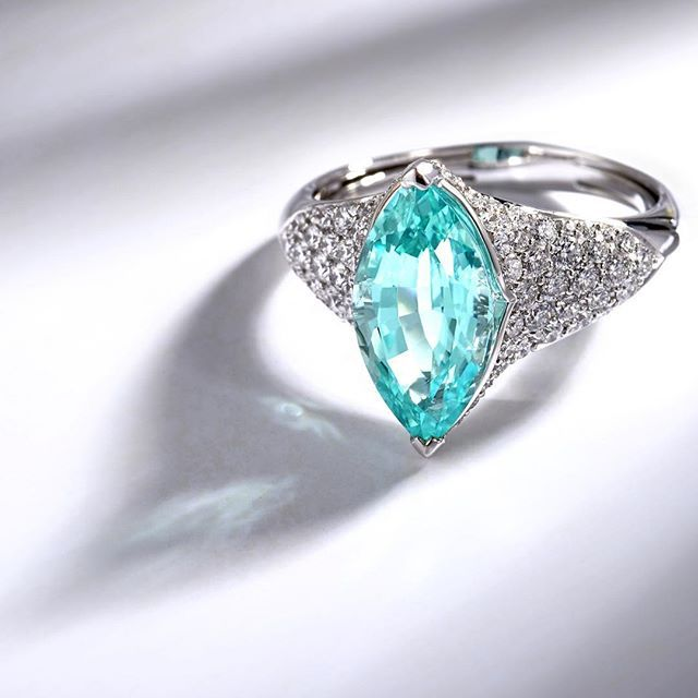 KAT FLORENCE Brazilian Paraiba Tourmaline and D Flawless Diamond Ring…