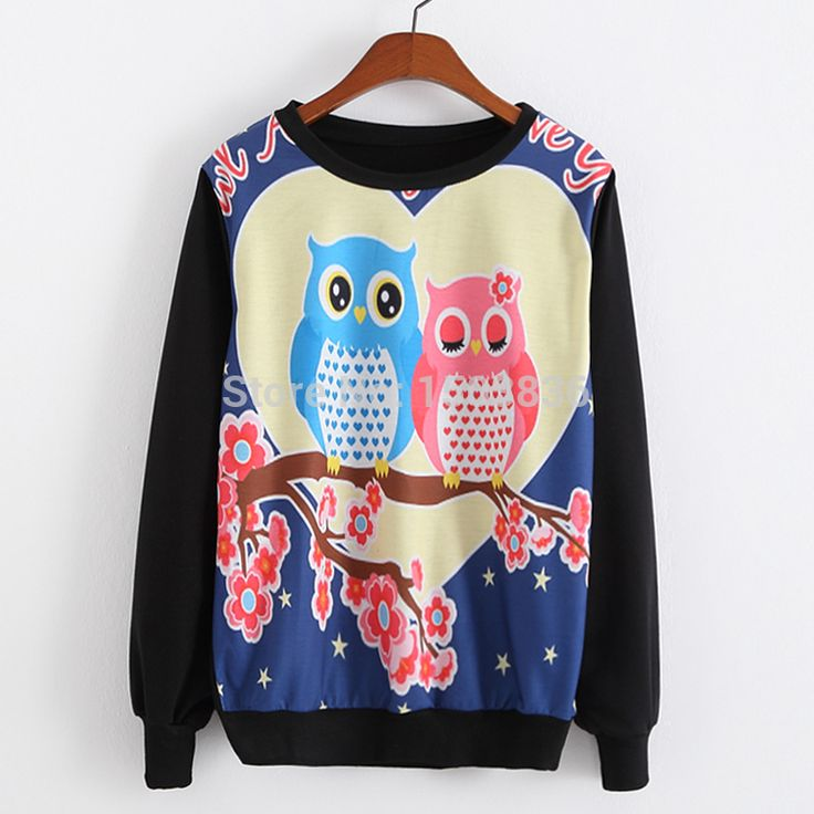 2015 New Spring Women Sweatshirts Fashion Double Lover Owl Print Sweatshirts Long Sleeve Top Blouse Hoodies Free Shipping-in Hoodies & Sweatshirts from Women's Clothing & Accessories on Aliexpress.com | Alibaba Group