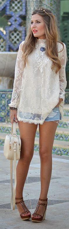 Abaday Cream Stand Collar Contrast Sheer Sleeve Lace Crochet Summer Blouse Dress by Mi Aventura Con La Moda