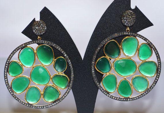 Onyx vert magnifique boucles d'oreilles avec par GauravExports