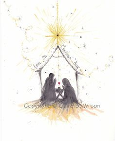 watercolour nativity - Google Search