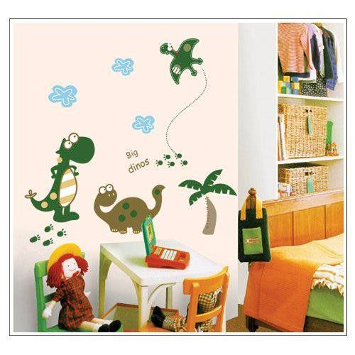 Modern Kids Bedroom with Dinosaur Wall Stickers