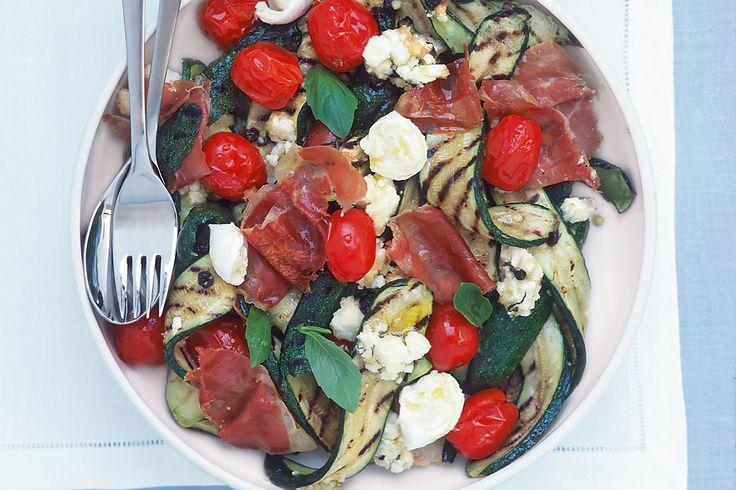 Grilled zucchini, mozzarella and prosciutto salad http://www.taste.com ...