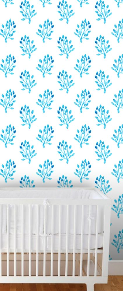 Watercolour Leaves wallpaper in blue  #wallpaper #bluefocus #colourstudy #nursery #removablewallpaper #selfadhesivewallpaper #walldecor