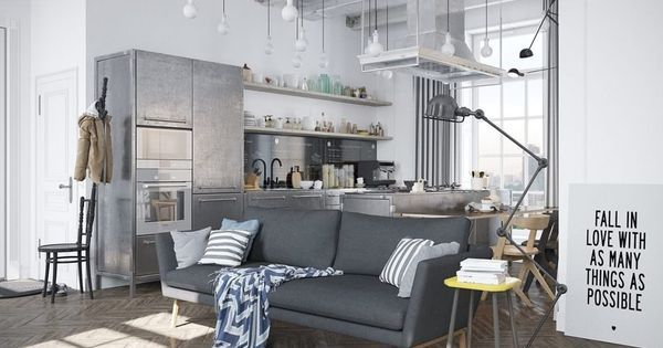 Scandinavian apartment with industrial elements by architect Denis Krasikov