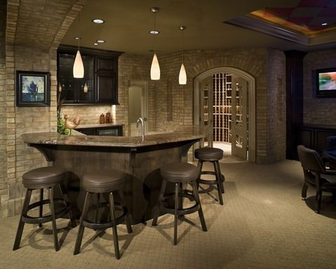 Contemporary bar with undercabinet lights #designmine