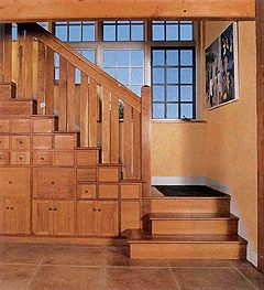Stairs With Built In Storage Drawers And Cabinets.