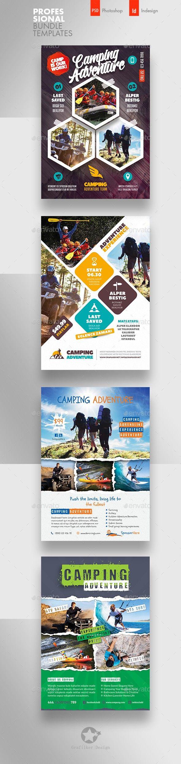 Camping Adventure Flyer Bundle Templates Flyer Templates Flyer Layout