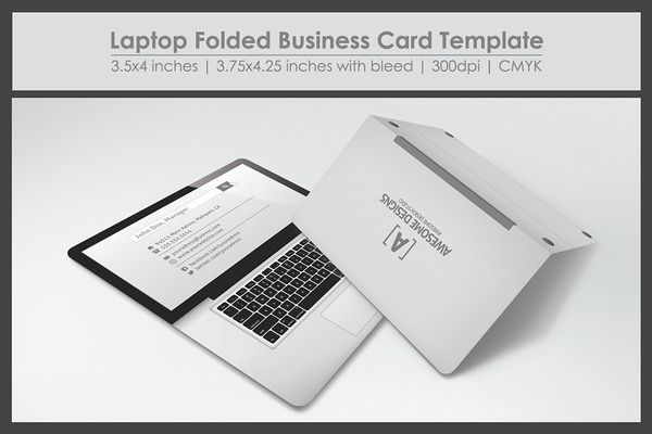 Laptop Folded Business Card. For custom business card printing, visit http://www.unifiedmanufacturing.com/