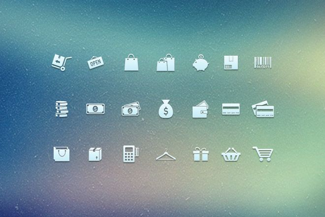 Shopping Icons Free PSD Download - Web Design Hood