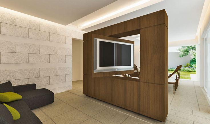 Sala de tv y comedor el mueble permite ver la tv desde los dos espacios muebles y - Mueble giratorio para tv ...