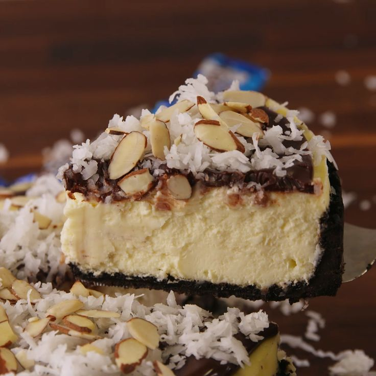 A cheesecake that tastes just like an Almond Joy.