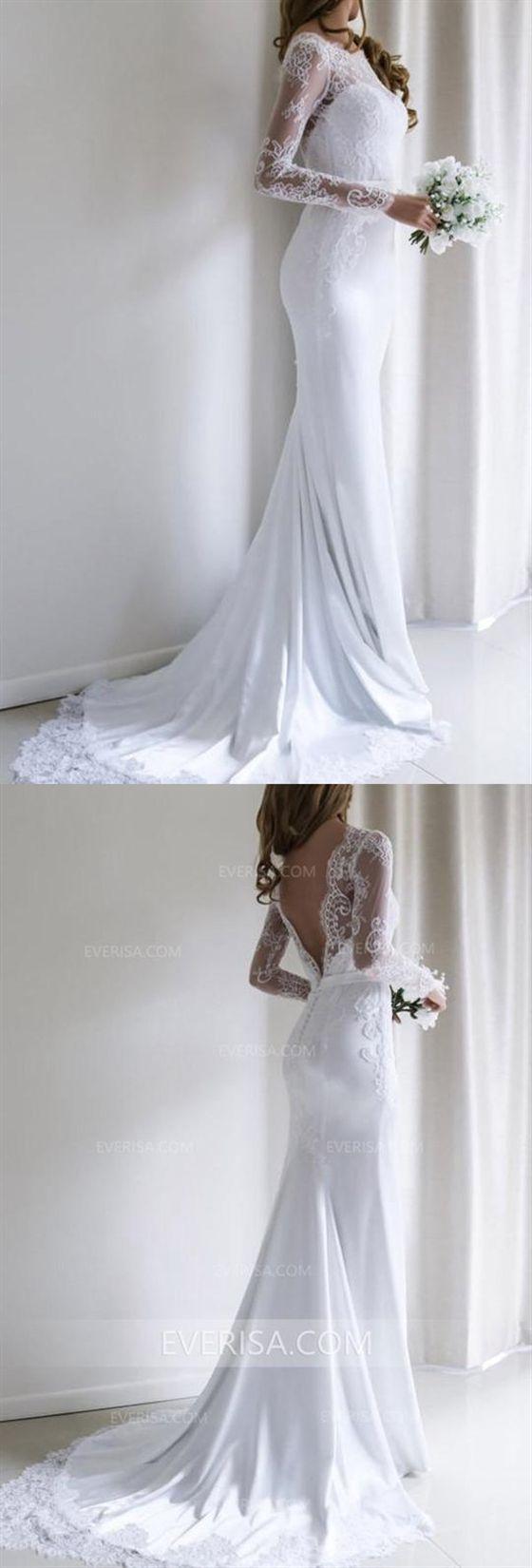 Nuovi abiti da sposa in raso bianco senza maniche a maniche lunghe con pizzo