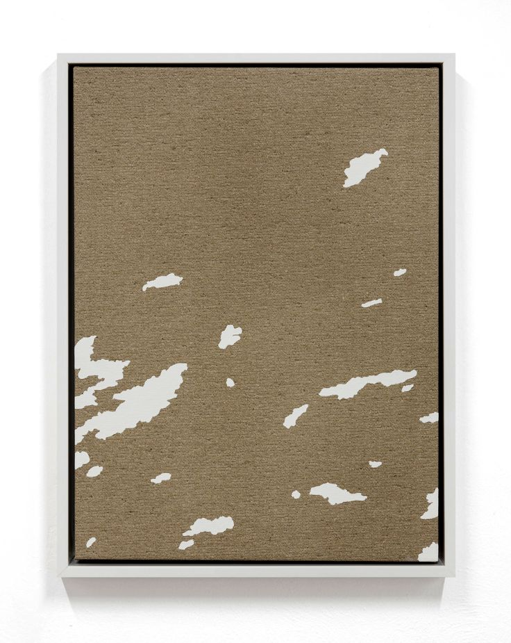 Pedro_Matos_Morning stretch 2016  Enamel on unprimed cotton canvas, wood stretchers, wood frame 15 7/10 × 11 4/5 in 40 × 30 cm