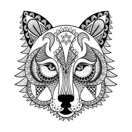 Vectores ornamental lobo, mascota de zentangled étnicos, amuleto, máscara o — Vector de stock