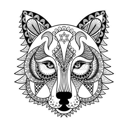 Vectores Ornamental Lobo Mascota De Zentangled Etnicos