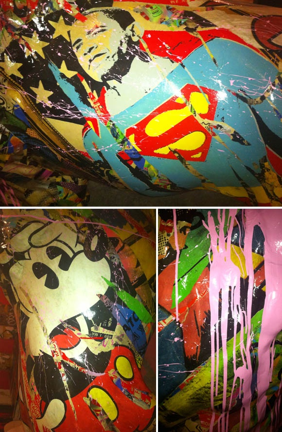 Mr Brainwash's, otherwise known as L.A. based filmmaker and street artist Thierry Guetta, 2011 art show.  The show took over 80,000 sq. ft of an otherwise abandoned building on La Brea Blvd, and displayed five stories full of Mr Brainwash's original works for a limited time.