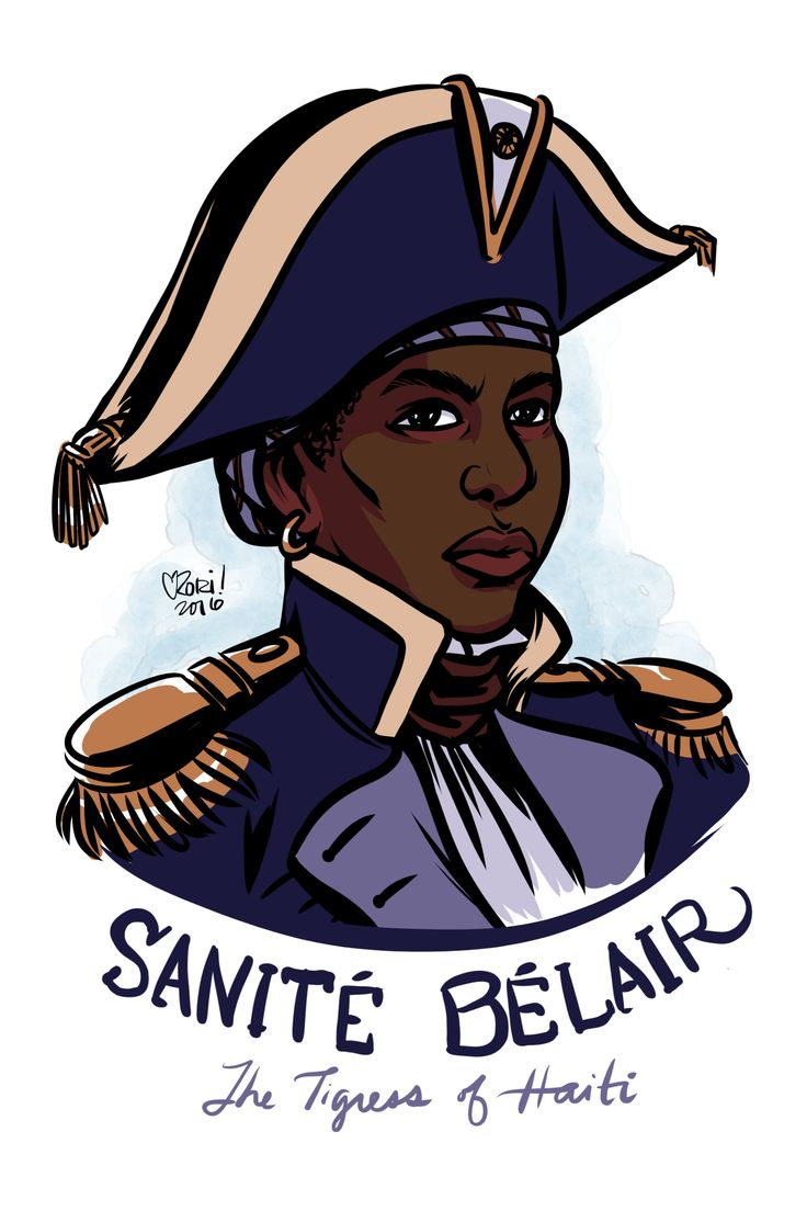 """Sanité Bélair Haitian Freedom fighter fought in the Haitian Revolution. Not much is known about her life, but she was a freewoman of color who joined the Haitian resistance under Toussaint L'Ouverture and rose to the rank of Lieutenant. She married a fellow revolutionary and together they mobilized entire populations of enslaved people against the French. Sanite's last words were recorded as """"Liberty! No to slavery!"""""""