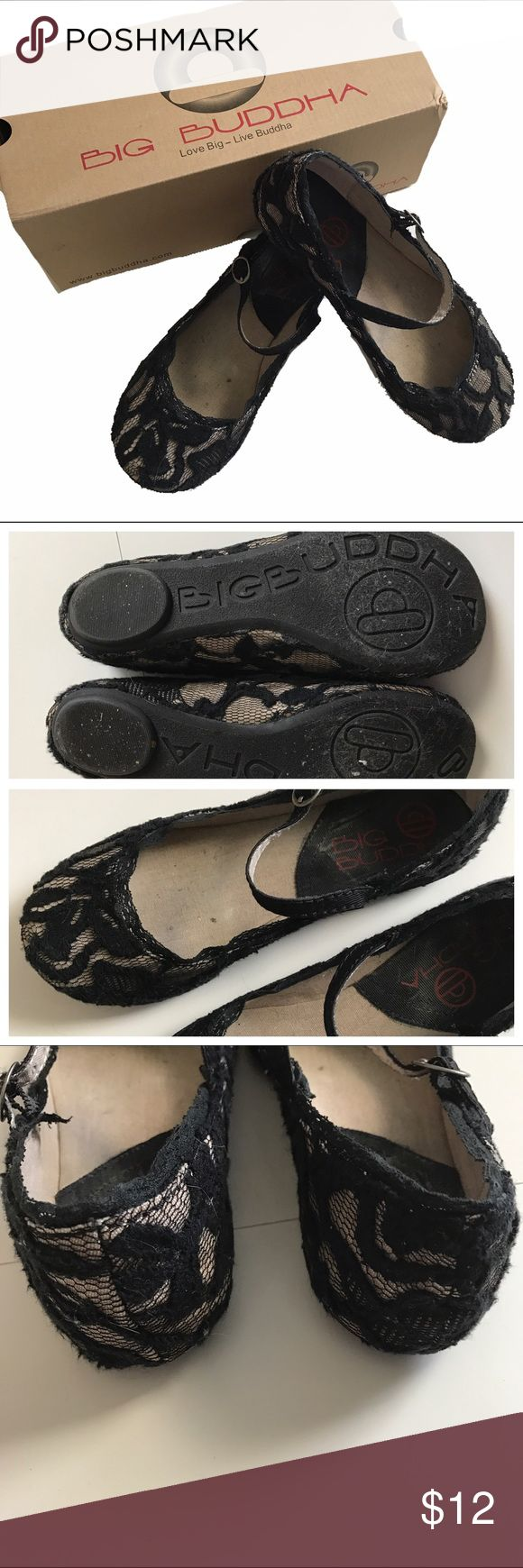 Big Buddha lace flats Black and cream lace flats.  Ankle strap with buckle.  Wear noticeable on inside and ever so slightly on sole.  Size 6.5. Big Buddha Shoes Flats & Loafers